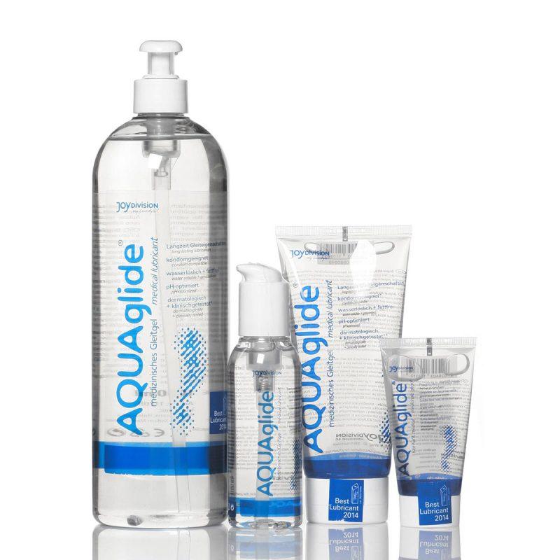 Aquaglide Glidecreme samlet billede af deres mest populære vandbaseret produkter